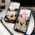 Caja del teléfono de lujo de mickey mouse para iphone 5 5s 6 6 s 6/6 s Plus Caso Protector de Espejo Caja Del Teléfono de la Contraportada de la Alta Calidad cubierta