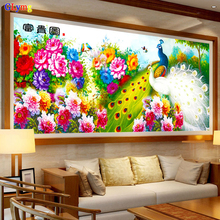 GLymg New Diy Special-shaped Diamond Embroidery Round Briliiaant Painting Cross Stitch Peony Peacock Large Size Picture