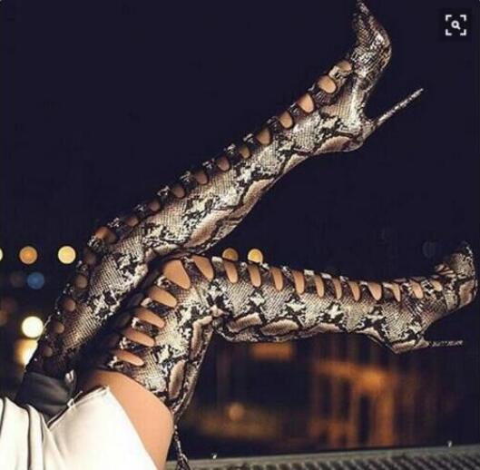 De Les Cuir Sexy Imprimé Peau En Sur Bottes Serpent Au Femmes AI4PfqwA