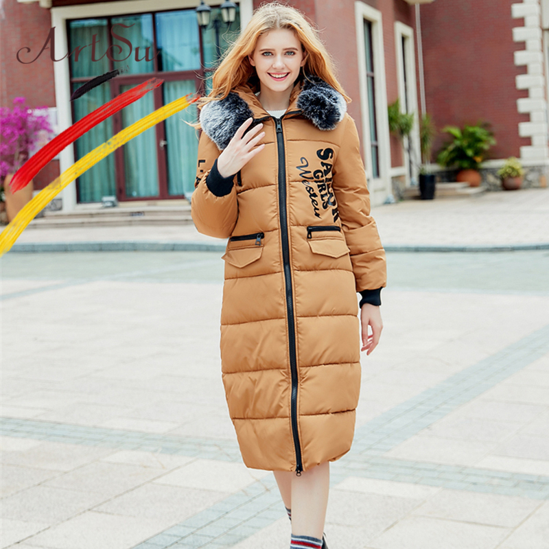 ArtSu Oversized Padded Coat Women Thickened Cotton Fur Collar Down Jacket 2017 Winter Windproof Long Overcoat Casual Parka winter new down jacket women 2017 oversized luxury fur collar thicker coat in the long section of 20 30 40 years old