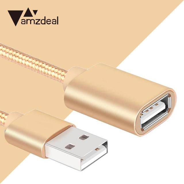 Amzdeal 1.0/2.0/3.0m USB 2.0 Extension Cable Line Male to Female Plug 480Mbps High Speed Data Sync Transfer Extender Cable