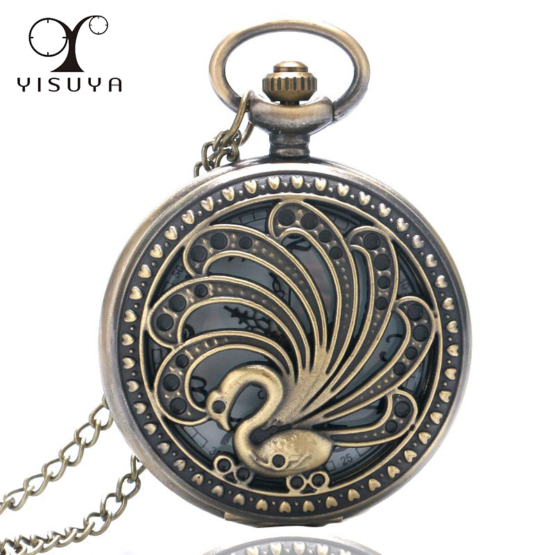 Peacock Pocket Watch Vintage Retro Style Hollow Beauty Necklace With 80CM Necklace Chain Unique Gifts For Women Lady Girl