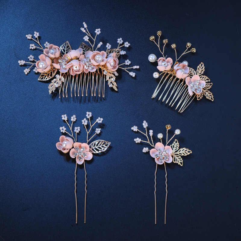 Модные розовые синие Цветочные Шпильки жемчуг горный хрусталь волос расчёски и гребни для выпускного вечера свадебные аксессуары для волос, золотистый листья