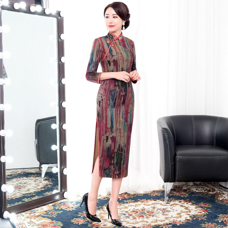1eb651d2514 Mandarin Parti Robes Chinois 2019 Sexy Traditionnel Marron Col Cheongsam  Polyester D hiver Femmes gris Lady Printemps Robe ...