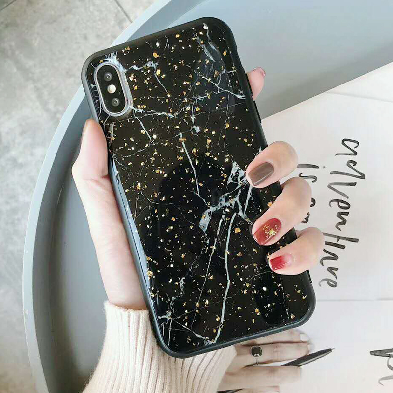 Luxury Gold Foil Bling Marble Phone Case For iPhone XS Max X XR Soft TPU Cover For iPhone 7 8 6 6s Plus Glitter Case Coque Funda (20)