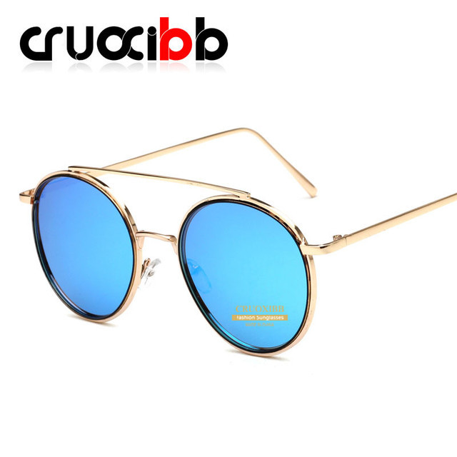 91dd991926 CRUOXIBB Nuevas Llegadas de Metal Marco Redondo gafas de Sol 100% UV Espejo  azul Rosa
