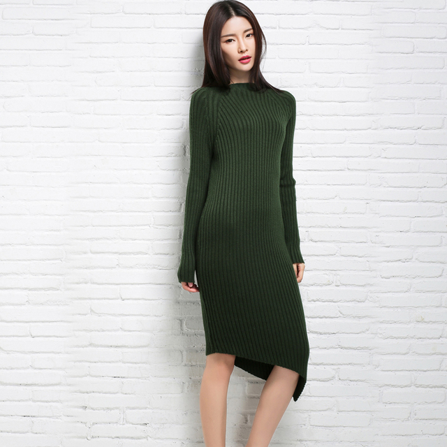 ebd0409062c6 Autumn Round Collar Long Sleeve Women Sweater Dress Casual Warm Elastic  Sweater Winter Bodycon Female Wool Knitted Dress Green