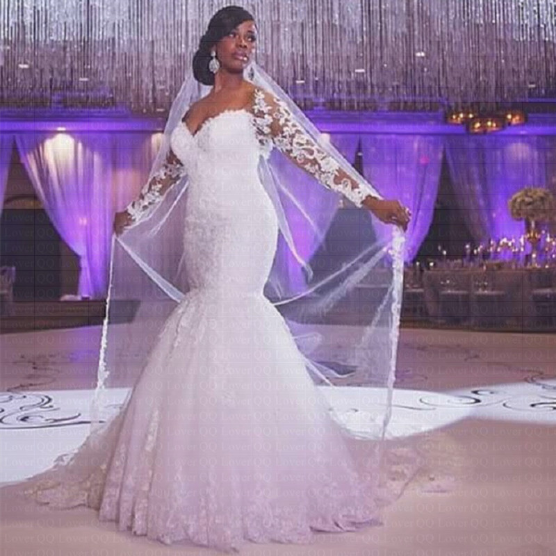 Detail Feedback Questions about 2019 New African Mermaid Wedding Dress Long  Sleeves Lace Plus Size Brides Dress Bridal Gown on Aliexpress.com  7e396e079b08