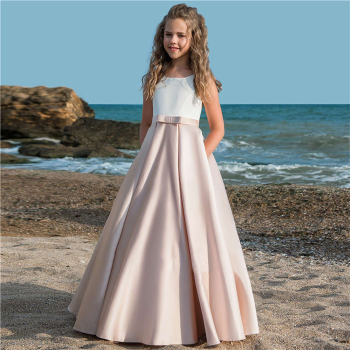 Fancy Pink   Flower     Girl     Dresses   For Weddings Vestidos daminha Kids Evening Pageant Gowns with Bow First Communion   Dresses