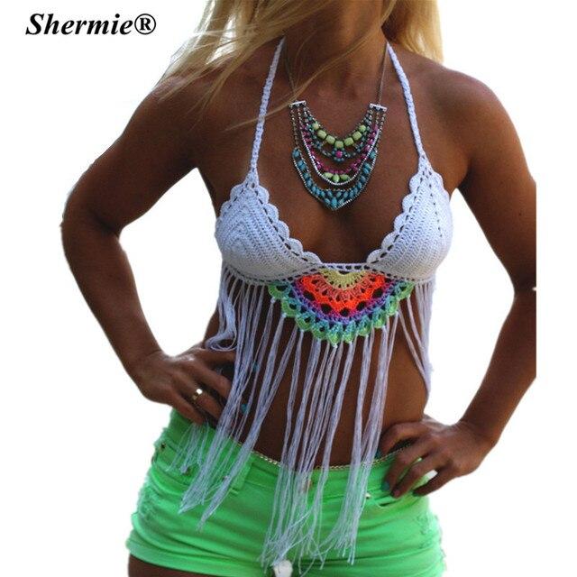 Крючком кисточкой Бразильский бикини женщин купальники Push Up Купальник Белый ремни ручной вязки Biquini пляжная одежда бикини топы