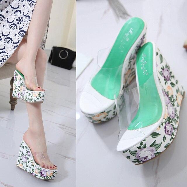 00183195e Flor de Las Sandalias de cuña deslizador zapatos cristalinos 2017 de Las  Mujeres atractivas Sandalias Decoradas