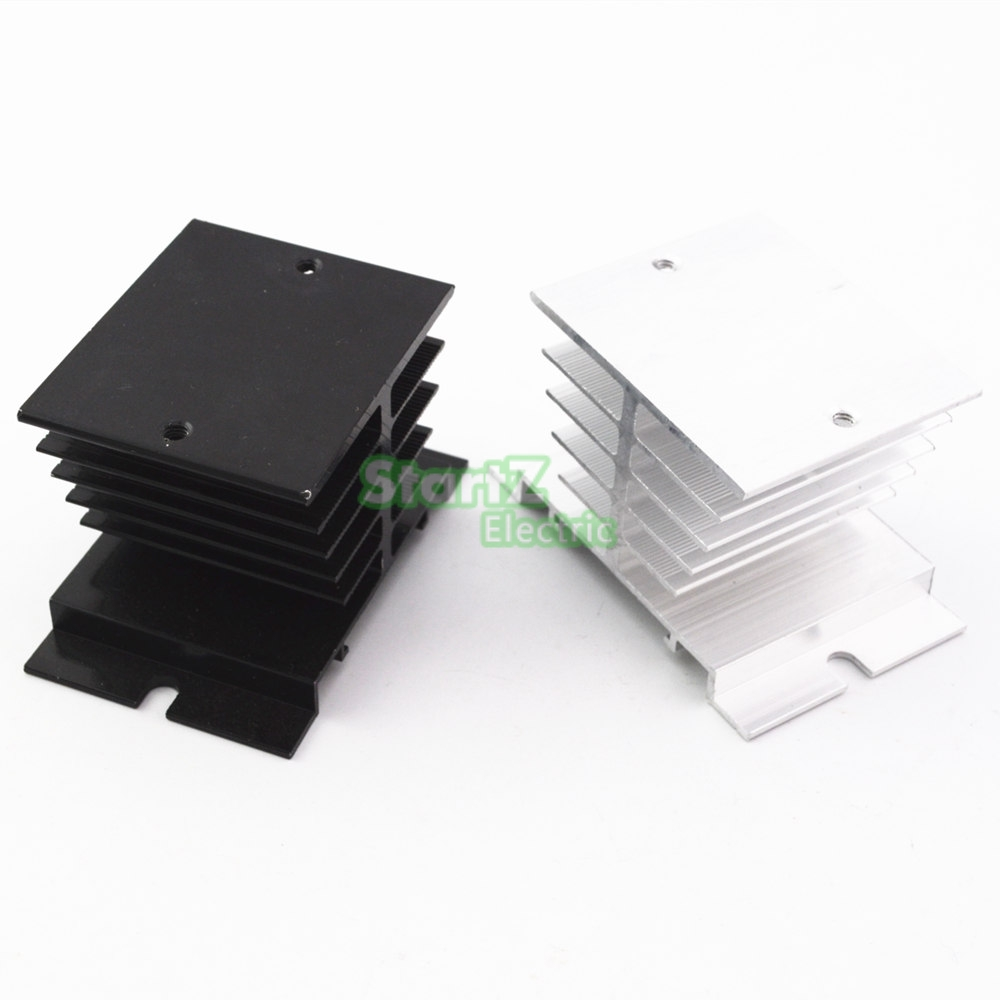 1 pcs Aluminum Fins Single Phase Solid State Relay SSR 10A to 40A Aluminum Heat Sink Dissipation Radiator Newest Rail Mount ssr 40da single phase solid state relay white silver