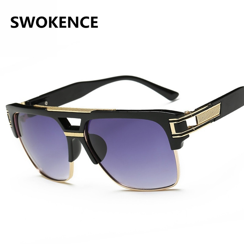 957391145786 US $14.91 |SWOKENCE Famous Brand Design High Quality Stars Style Sunglasses  Men Women Luxury Large Size Half Frame UV400 Sun Blinkers SA22-in ...
