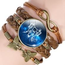12 Zodiac Sign Multilayer Leather Bracelet