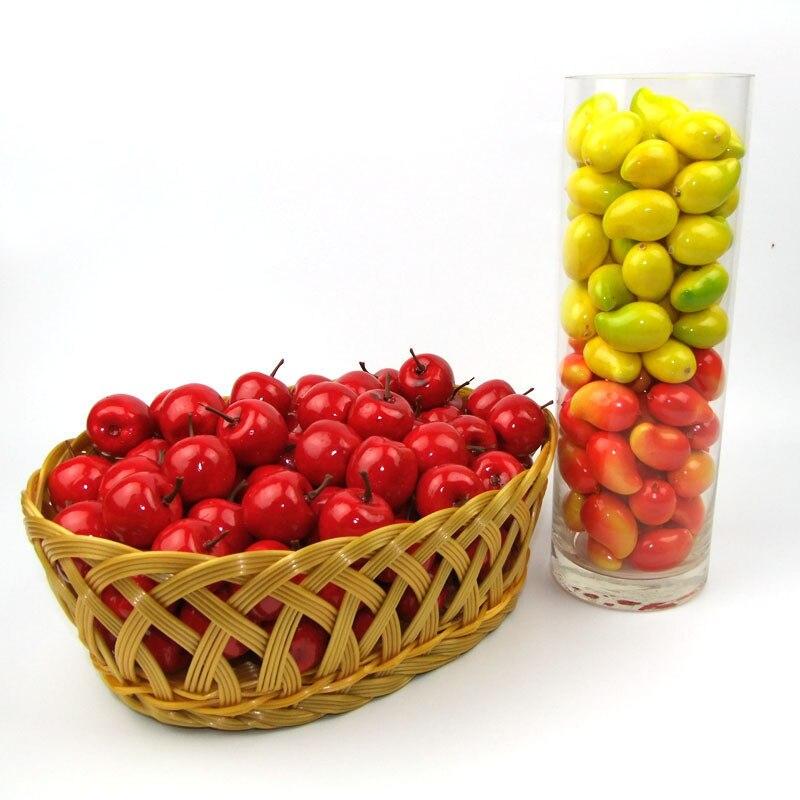 20 pièces/ensemble en plastique Simulation artificielle Mini faux fruits décor pomme Orange citron fraise accessoires maison fête décoration 25