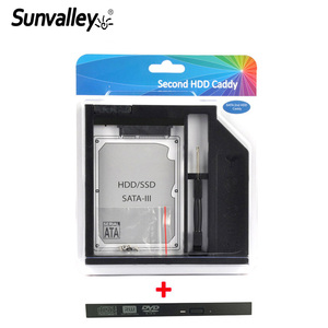 Sunvalley Brand 9mm Plastic 2nd HDD Caddy SATA 3.0 SSD HDD Case For Laptop 9/9.5mm DVD/CD-ROM Optibay Bay With Bezel Panel