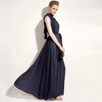 여름 드레스 여성 우아한 쉬폰 민소매 보헤미안 끊기 목 드레스 2018 femame 섹시한 벨트 비치 고삐 긴 드레스 QH1285