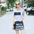 Skirt Suits Spring Summer New Fashion Women's Lovely Casual Stripes Print Loose Tos + Letters Blue Skirt Suit Twinsets NS294