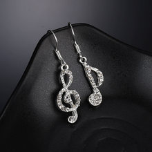 2018 new 1 Pair Personality Hot Trendy Music Notes Ear Hook Top Crystal Silver Color earring for Women Accessory Party Earring(China)