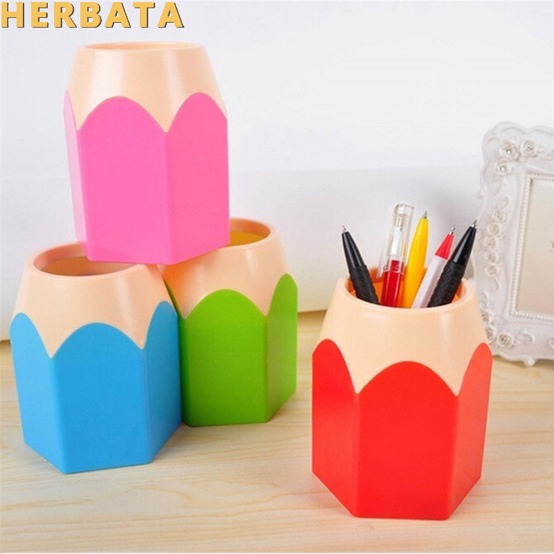 Girls Makeup Brush Pencil Pot Pen Holder Children School Stationery Storage Pencil Container Stationery