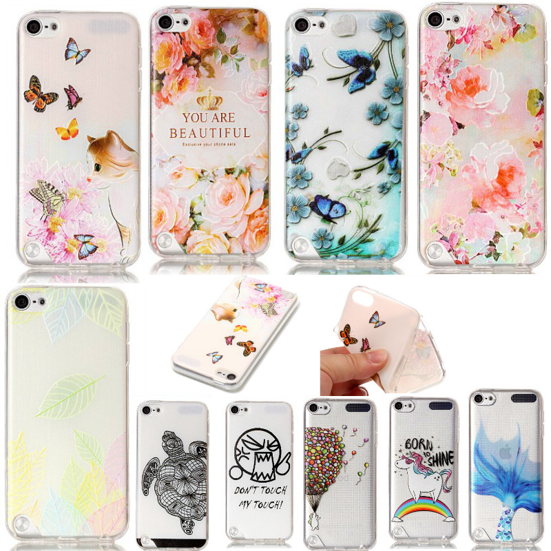 3D Relief painted floral transparent rainbow horse soft TPU thin silicone phone case for iPod Touch5 touch6 back cover touch 5 6