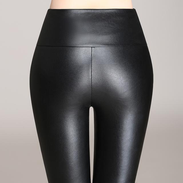 lady spring autumn faux leather leggings women fashion skinny PU legging girl slim leather pant
