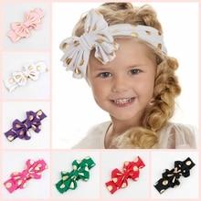 2017 New Baby Headbands 12 Colors Cotton Messy Bow Headwrap Big Bow Knit Headwrap Baby Turban Headband Photo Prop 1PCS