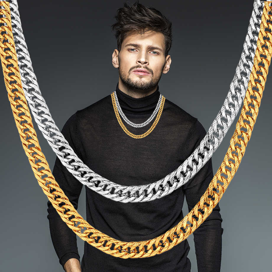 W stylu Vintage długi złoty łańcuszek dla mężczyzn naszyjnik łańcuch nowy modny złoty kolor ze stali nierdzewnej o grubości czeski biżuteria Colar mężczyzna naszyjniki