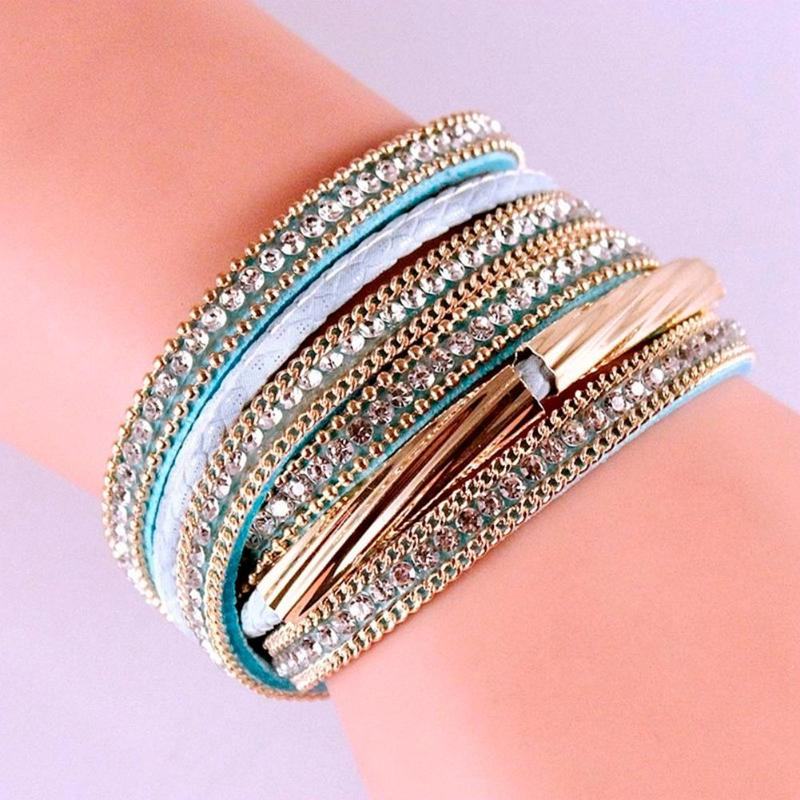 Trendy Adjustable Multilayer Wrap Leather Bangle Crystal Jewelry For Women Girls in Party Wedding Gifts,5 colors