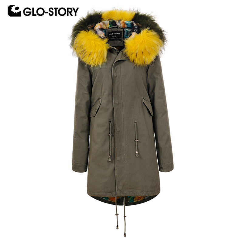 GLO-STORY Women 2018 Long Cotton   Parka   Woman Winter Wool Liner Warm Coats with Muliti Fur Hoodie and Pleated Wasit Drawstring
