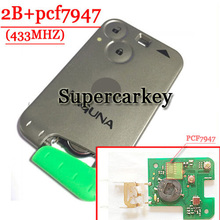 Free Shipping  (1pcs ) Excellent Quality Green Blade   2 Button Smart Card For Renault Laguna with pcf7947 Chip  433MHZ