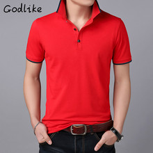 2019 new brand clothing polo shirt business casual solid men's polo shirt short sleeve quality pure cotton golf stone