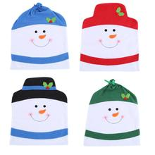 4pcs Chair Cover Christmas Snowman Set Home Party Banquet Restaurant Xmas Table Decoration