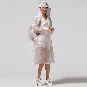 Image 2 - Moda EVA przezroczysty wodoodporny damski płaszcz przeciwdeszczowy poncho wiatroszczelny płaszcz przeciwdeszczowy z torbą szkolną lokalizacja wspinaczka Tour płaszcz przeciwdeszczowy