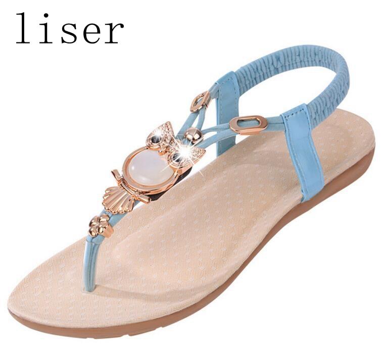liser Rhinestone del grano del búho sandalias del dedo del tirón de - Zapatos de mujer - foto 1