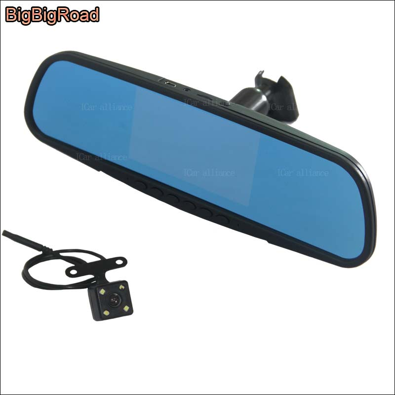 BigBigRoad For buick verano Dual Lens Car front Camera Blue Screen DVR rearview mirror video registrator dash cam FHD 1080P 5 inch car camera dvr dual lens rearview mirror video recorder fhd 1080p automobile dvr mirror dash cam