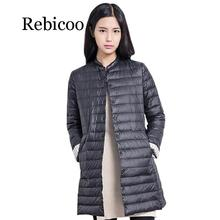 Rebicoo Autumn Winter Casual Coat Parkas For Women Female Snow Warm Jacket Long Thin Duck Down Laides Sleeve