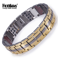 Hottime New Arrival 4 In 1 Bio Elements Energy Fashion Titanium Steel Magnetic Bracelet Never Fade