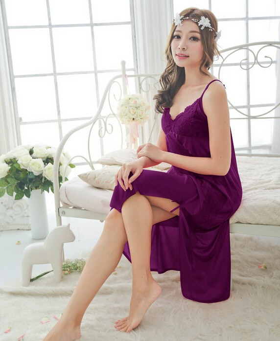 Free shipping women Violet sexy temptation nightdress girls long ... 7405fb0d1