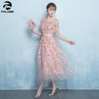 FOLOBE 2019 Spring Summer Elegant Party Dresses A Line Embroidery Sequins Tea Length Tulle Pink Formal Women Dress Clothing