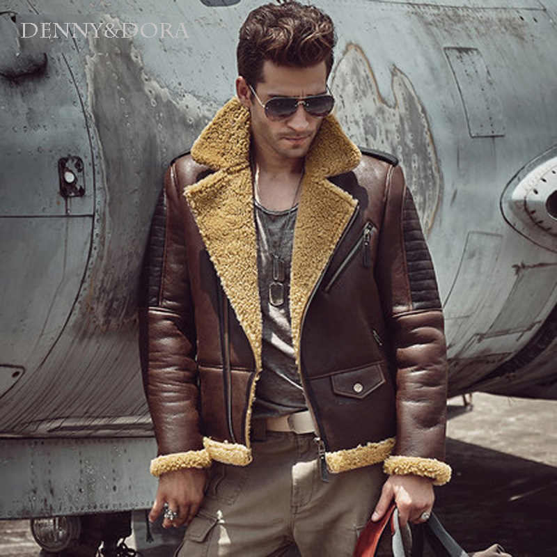 a980bf5a Nuevo estilo para hombre oveja b3 de piel de oveja de abrigo corto abrigo  solapa Collar piel ...