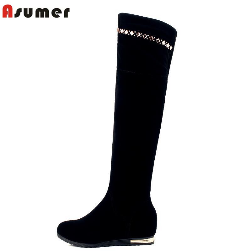 ASUMER women's winter riding boots 2016 new arrival high quality round toe height increasing rhinestone over the knee high boots new arrival high quality winter snapback