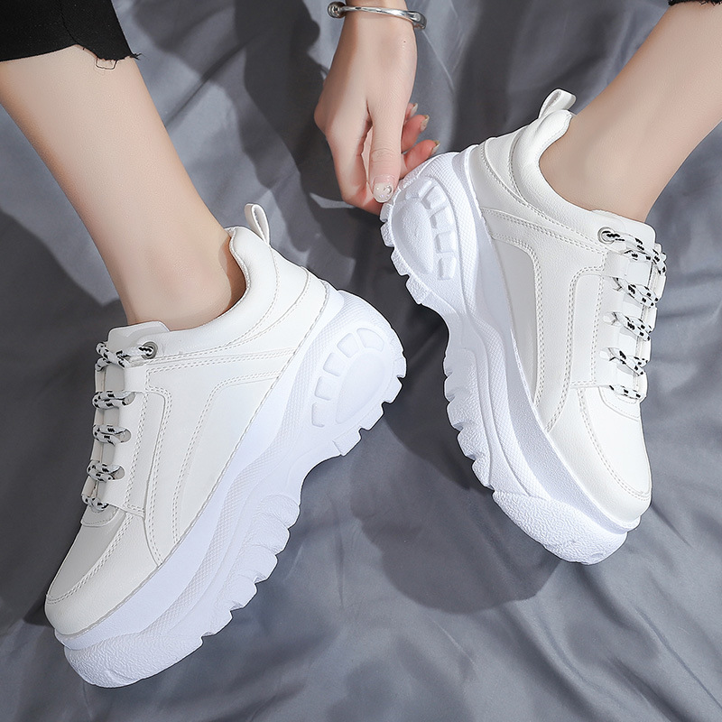 women Dad shoes autumn bright wear resistant tire bottom casual white Chunky Sneakers for female fashion Vulcanize Shoe woman