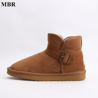 MBR Fashion Style Real Sheepskin Leather Wool Fur Lined Short Ankle Strap Suede Snow Boots With