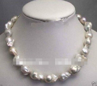 Free shipping >>@ 814 Large 15 23mm White Unusual Baroque Pearl Necklace disc Clasp