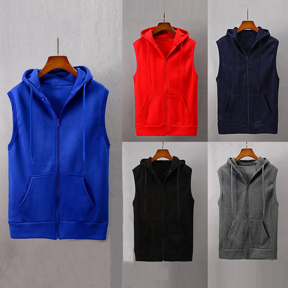 Fashion 1pc Men Hooded Jacket Solid Sleeveless Vest Waistcoat Slim Fitted Jacket Blouse Tops Shirt 30#OC8