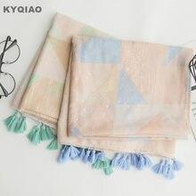 Designer écharpe pour femmes filles automne printemps Japonais style frais  bref longue bleu vert imprimé géométrique 2b3c963a912