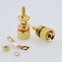 лучшая цена 40pcs/lot 305B copper plated high-end speaker post connector speaker accessories banana seat red/black