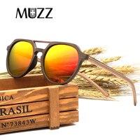 MUZZ New Men's Wood steampunk Sunglasses Wooden Polarized Sun Glasses 2018 Retro Men and Women Luxury Handmade Wooden Sunglasses