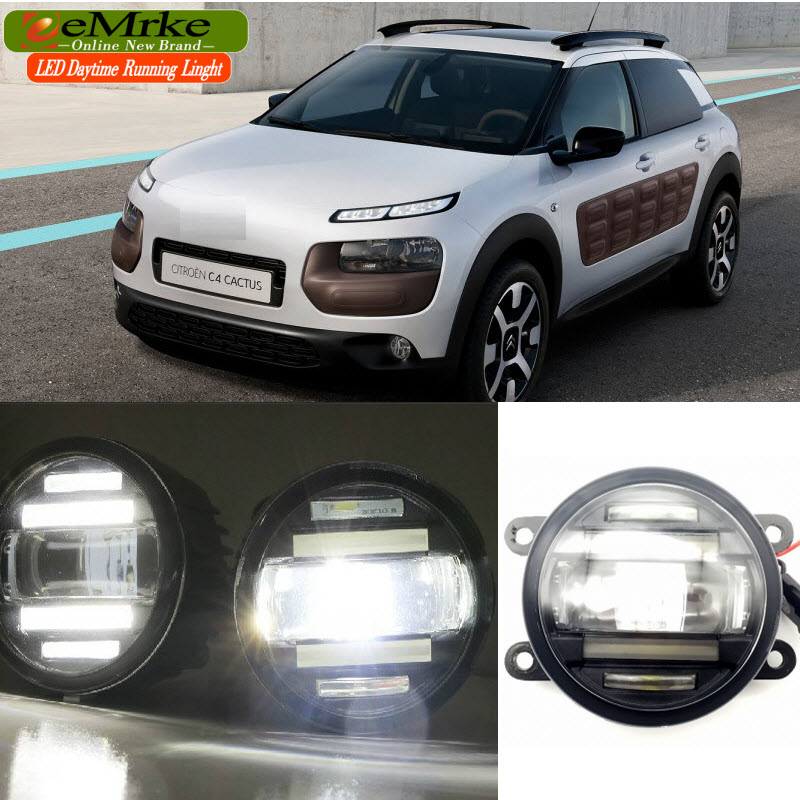 EEMRKE Car Styling for Citroen C4 Cactus 2014 2015 2016 2 in 1 Multifunction LED Fog Lights DRL With Lens Daytime Running Lights eemrke car styling for opel zafira opc 2005 2011 2 in 1 led fog light lamp drl with lens daytime running lights